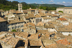 Hilltop View, Viviers, France. A hilltop view of the charming old city of Viviers (also know as Viviers-Sur-Rhone), in the Ardeche region, France, with its red royalty free stock images