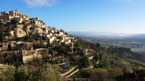Hilltop village Gordes in the French Provence. Landscape with hilltop village Gordes in the French Provence Stock Photos