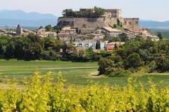 Hilltop village of Grignan in France stock photos