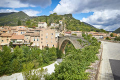 Hilltop village and Picturesque bridge, Provence. France Royalty Free Stock Photography
