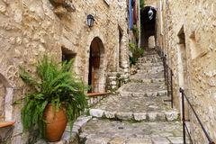 Hilltop Village of Saint Paul de Vence. A beautiful scene along the medieval streets of a hilltop village along the French Riviera, in southern France royalty free stock photography