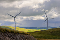 Hilltop wind turbines, Scotland Stock Photography
