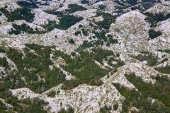 Hilltops in Biokovo nature park. Bird's eye view of scenic hilltops in Biokovo nature park on Dalmatian coast near Makarska Riviera in Croatia Stock Image