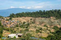 Hilltribe村庄和农场土井Ang的Khang,清迈, Thailan 图库摄影
