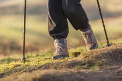 Hillwalking. With walking boots and poles Stock Image