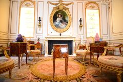 Hillwood Estates and Museum Guest Entertaining Area. Guest entertainment room at The Hillwood Estate, Museum and Gardens is the legacy of Marjorie Merriweather Royalty Free Stock Images