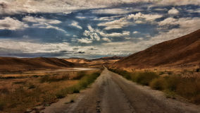 Hilly Backroad in Summer. A backroad leads through hills browned by summer sun in early evening light royalty free stock photo