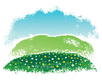 Hilly countryside landscape. Rural landscape, vector Illustration. Hand drawn illustration Royalty Free Stock Photo