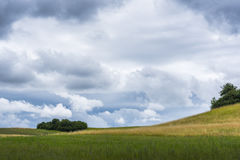 Hilly field. Undulating landscape in Mecklenburg-Vorpommern with cloudy sky Royalty Free Stock Photo