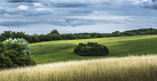 Hilly field. Undulating landscape in Mecklenburg-Vorpommern with cloudy sky Stock Photography