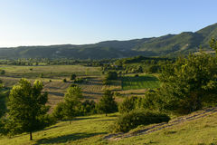Hilly fields at sunset in the holy valley, Rieti Royalty Free Stock Images