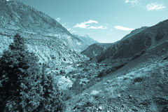 Hilly landscape in the Fan Mountains. Pamir. Tajikistan. Toned Stock Image