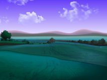 Hilly landscape with fields, high detailed illustration. Hilly landscape with fields to the horizon, high detailed illustration Stock Photography