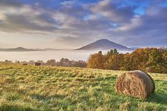 Hilly landscape with fog Stock Photography