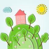 Hilly landscape with house. Illustration of spring hilly landscape with house, dashed style Royalty Free Stock Image