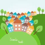Hilly landscape with houses Royalty Free Stock Photography