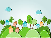Hilly landscape with houses. Illustration of spring hilly landscape with houses, dashed style Stock Images