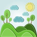 Hilly landscape. Illustration of spring hilly landscape with clouds, dashed style Stock Photography