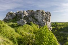 Polish Jurassic Highland. Hilly landscape with Jurassic limestone rocks Royalty Free Stock Photo