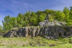 Polish Jurassic Highland. Hilly landscape with Jurassic limestone rocks Royalty Free Stock Image