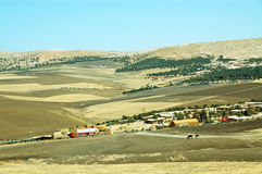 Hilly landscape in Morocco, the settlement Stock Photos