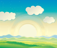 Hilly landscape. Nature landscape, sunrise over the hills Royalty Free Stock Photo