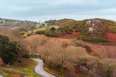 Hilly landscape and road in Jersey, Channel Islands royalty free stock photography