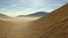 Hilly landscape with some sands. Hilly country with some sands and fog Royalty Free Stock Photos