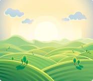 Hilly landscape. Sunrise over the hills. Natural landscape Royalty Free Stock Images
