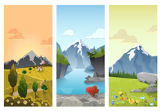 Hilly mountains vector flat landscape seasons summer autumn. Hilly mountains Landscape in Seasons: spring summer autumn. Floral background changing seasonal Stock Photos