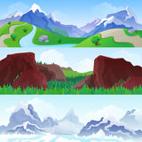 Hilly mountains vector flat landscape seasons summer winter Royalty Free Stock Image