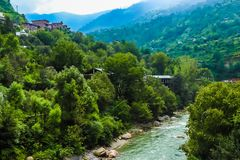 Hilly river stock photography