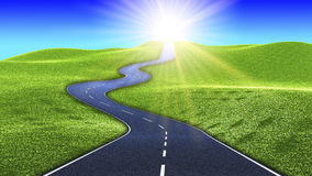 Hilly road to the sun Stock Photos