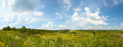 Hilly rural panoramic landscape. Royalty Free Stock Images