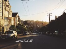 Hilly street royalty free stock images