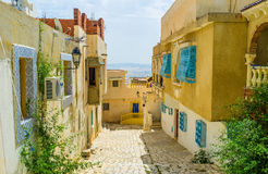 The hilly street of El Kef Royalty Free Stock Photography