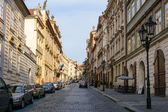 Hilly street in old Prague, Czech Republic Stock Photography