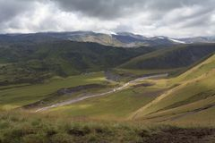 Hilly terrain of mountains. Caucasus, Russia, the foothills of Mount Elbrus Stock Photography