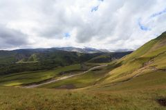 Hilly terrain of mountains. Caucasus, Russia, the foothills of Mount Elbrus Stock Photo