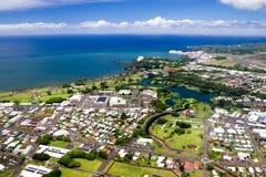 Hilo, Big Island, Hawaii. Aerial view over Hilo on Big Island, Hawaii, USA stock photo