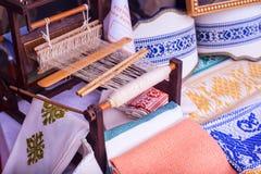 Hilo blanco del telar hecho en casa Foto de archivo libre de regalías