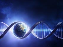 Hilo de la DNA de la tierra que brilla intensamente Imagen de archivo libre de regalías