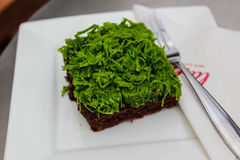 Hilo de las yemas de huevo del brownie y del oro verde Fotos de archivo libres de regalías