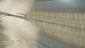 Hilos de la materia textil para la macro de goma del refuerzo del neumático almacen de metraje de vídeo