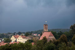 Hilpoltstein with castle ruin under stormy sky Royalty Free Stock Photos