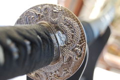 Hilt of a japanese katana. Lavored hilt of japanese katana Stock Photography