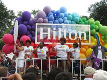 Hilton Balloon Float at the Capital Pride Parade. Photo of women at the capital pride parade in washington dc on 6/9/18. This parade takes place at dupont circle royalty free stock image