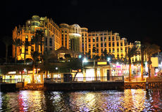 Hilton Eilat Queen Of Sheba Hotel at night Stock Photography