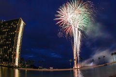 Hilton-Feuerwerke Lizenzfreie Stockfotografie