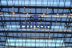 Hilton Frankfurt airport hotel logo Stock Photo